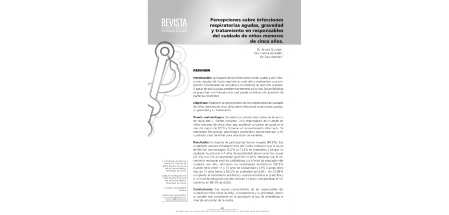 Percepciones Sobre Infecciones Respiratorias Agudas, Gravedad y Tratamiento en Responsables del Cuidado de Niños Menores de Cinco Años
