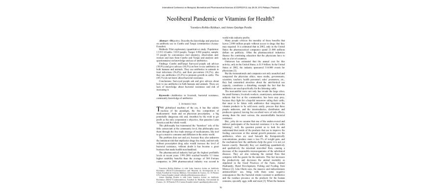 ¿Pandemia Neoliberal o Vitaminas para la Salud? (Inglés)